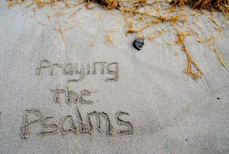 Photo: Praying the Psalms written in the sand